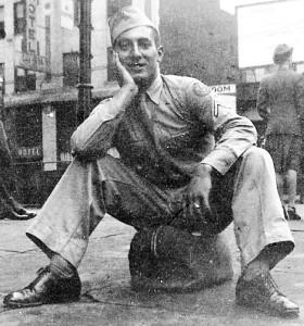 "Aarol ""Bud"" Irish in August 1943 on furlough at Union Depot, Detroit."