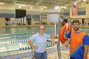 Nim Shipra the new Brandon High school swim Coach with Lindsey Lampear