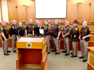 From left, Dep. Hubble, Capt. Miller, Lt. Gover, Dep. Yon, Dep. Wheatcroft, Dep. Sonja Overall, Sheriff Bouchard, Dep. Pankey, Dep. Saunders, Dep. Knopp and Sgt. Werner. (Not pictured Dep. Mendicino, Dep. Ross and Dep. Buhl) The Sheriff's Distinguished Unit Citation: Brandon Substation. Photo by David Fleet.