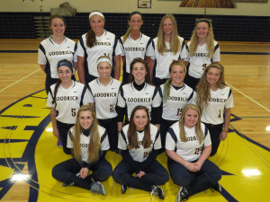 Goodrich Softball ---Front row from left, Gracelyn Kennedy, Aaron Monroe and Bailie Losee. Middle row, Jordan Witmer, Hannah Macklem, Abigail Joseph, Kyleigh Cumming and Ashton Stewart. Back row, Emily Stambaugh, Madison Becker, Rachel Stoner, Courtney Yon and Kylee Yon. Photo by Patrick McAbee.