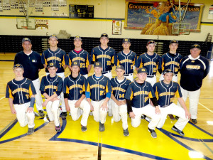 Goodrich Baseball---Front from left, Tyler Wilson, Ethan Young, Kevin Tison, Luke Kleindl, Wyatt Sims, Zack McIntire and Donovan Dumoulon. Back from left, Coach Bob Foreback, Justin Lawence, James Zito, Landin Mitchell, Chase Dawley, John Salayko, Tanner Sanford, Coach Ron Wagner. Photo by Patrick McAbee.
