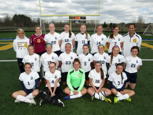 Goodrich Girls Soccer---Front left, Maddy Harville, Ali Hall, Mia DeJohn, Cori Peake, and Mollie Gilin. Middle from left, Sydney Larsen, Stephanie Ross, Laurna Ferenc, Mackenzie Rappuhn, Chloe Turnbow, Summer Haught and Margaret Trembly. Back from left, Ashley Garr, Alexis Pocza, Madeline Reneaud, Alexis Velazquez, Megan Duval, Paige Conlin, Kaitlyn Petit and Head Coach Evan Huizenga. Not pictured Rose Perry. Photo by Patrick McAbee.