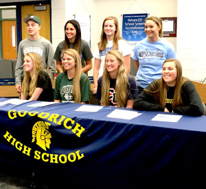Front from left, Bethany Schultz, Mott CC, volleyball; Rebecca Taylor Oakland CC, softball; Paige Conlin, Cleary Universit soccer and Madison Becker, Mott CC volleyball. Back row from left, Nathan Ellis, Lake Erie College wrestling;Megan Underwood, Macomb CC volleyball; Kristi Doherty, Lawrence Tech Volleyball and Taylor Harding, Northwood University, golf. On April 13 eight Goodrich Seniors singed letters of intent to continue their education and participate in athletics following graduation. Photo provided.