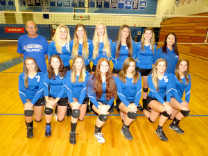 Front from left, Kelsey Voyer, Emma Borowski, Elle Skinsacos, Bella Lauinger, Delaney Collazo, Allison Keller and Elaina Ceccacci. Back row from left, Coach David Deaver, Emily Oliver, Janelle Kwasiborski, Kajsa Parsons, Taylor Stoll, Nicolette Seelbinder and Asst. Coach Nicole Scibilia. Brandon Volleyball. Photo by Patrick McAbee.
