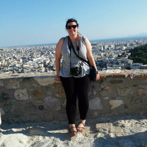 In front of the Parthenon at the Acropolis